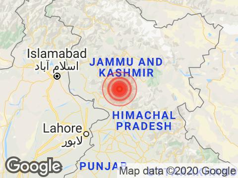 जम्मू एवं कश्मीर में कटरा के निकट रिक्टर पैमाने पर 4.2 तीव्रता वाले भूकंप के झटके