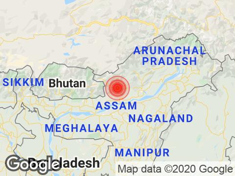 Assam में Tezpur के निकट रिक्टर पैमाने पर 3.2 तीव्रता वाले भूकंप के झटके