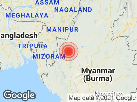 Mizoram में Champhai के निकट रिक्टर पैमाने पर 3.7 तीव्रता वाले भूकंप के झटके