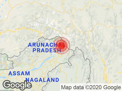 Arunachal Pradesh में Changlang के निकट रिक्टर पैमाने पर 4.2 तीव्रता वाले भूकंप के झटके