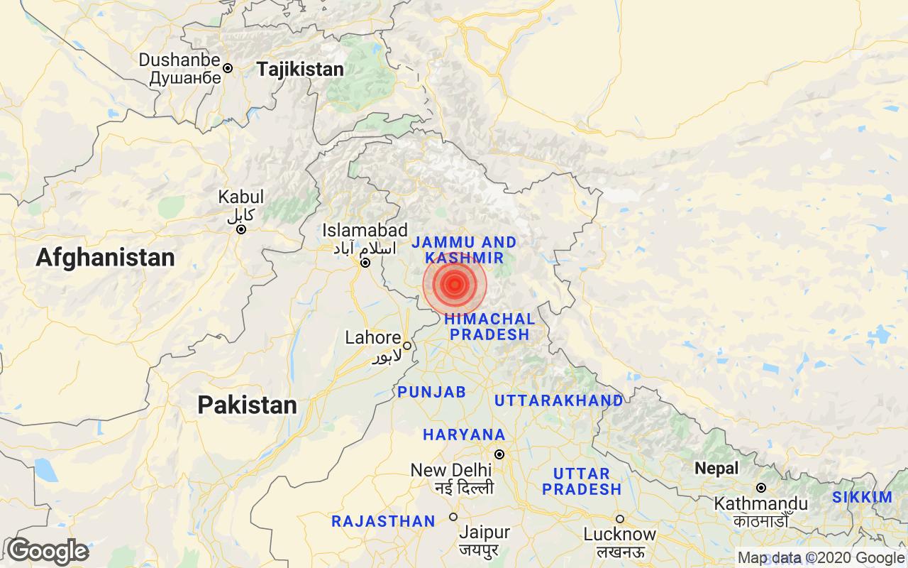 परिमाण 4.0 भूकंप जम्मू और कश्मीर की थाथरी से टकराता है