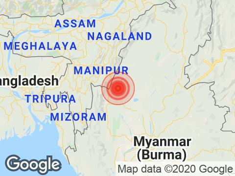 Manipur में Moirang के निकट रिक्टर पैमाने पर 3.7 तीव्रता वाले भूकंप के झटके