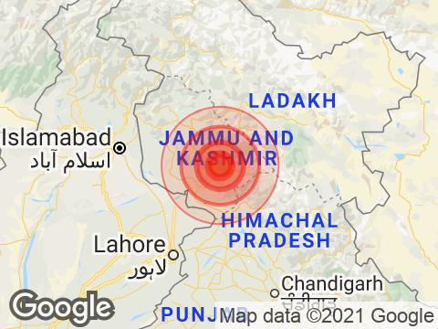Jammu and Kashmir में Katra के निकट रिक्टर पैमाने पर 5.1 तीव्रता वाले भूकंप के झटके