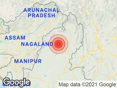 Arunachal Pradesh में Changlang के निकट रिक्टर पैमाने पर 3.9 तीव्रता वाले भूकंप के झटके