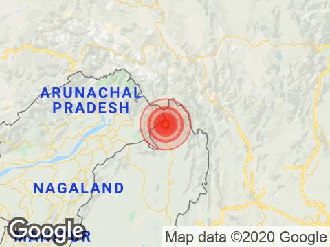 Arunachal Pradesh में Changlang के निकट रिक्टर पैमाने पर 3.8 तीव्रता वाले भूकंप के झटके
