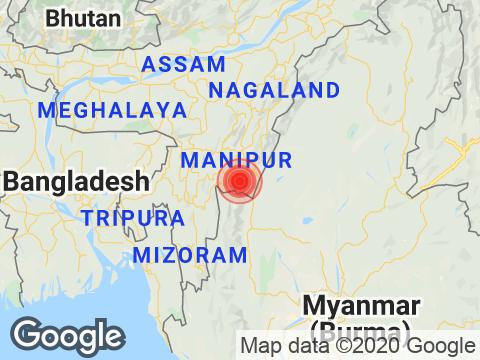 Manipur में Moirang के निकट रिक्टर पैमाने पर 3.1 तीव्रता वाले भूकंप के झटके