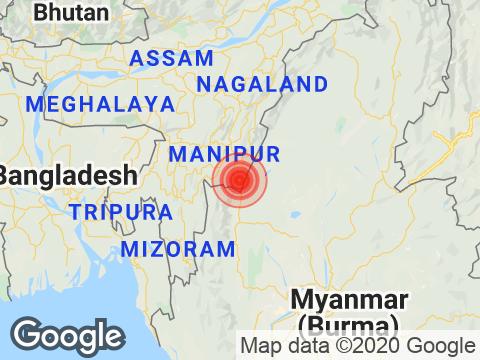 Manipur में Moirang के निकट रिक्टर पैमाने पर 3.4 तीव्रता वाले भूकंप के झटके