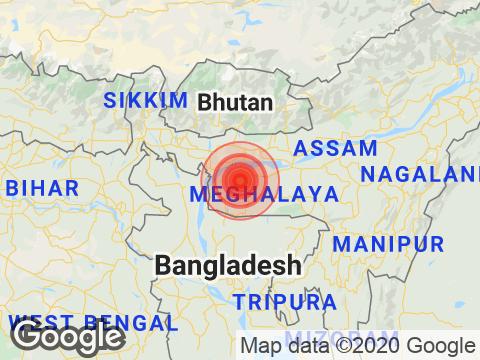 Meghalaya में Tura के निकट रिक्टर पैमाने पर 3.9 तीव्रता वाले भूकंप के झटके