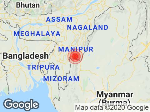 Manipur में Moirang के निकट रिक्टर पैमाने पर 3.2 तीव्रता वाले भूकंप के झटके