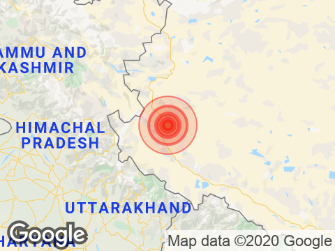 Jammu & Kashmir में Hanley के निकट रिक्टर पैमाने पर 3.9 तीव्रता वाले भूकंप के झटके