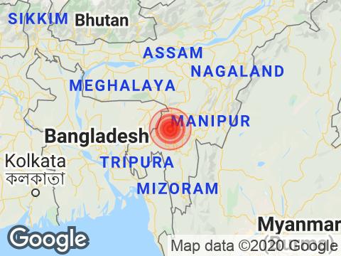 त्रिपुरा में धर्मनगर के निकट रिक्टर पैमाने पर 3.5 तीव्रता वाले भूकंप के झटके