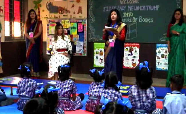 Image result for maleniya trump in delhi school live update