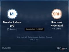 Mumbai Indians vs Sunrisers Hyderabad Live Score Ball by Ball, IPL 2021 Live Cricket Score Of Today's Match on NDTV Sports