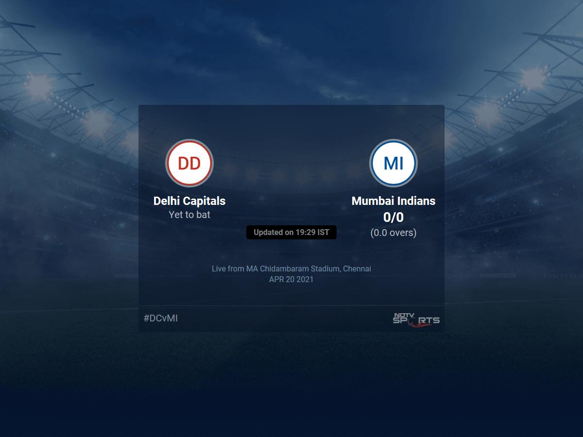 Delhi Capitals vs Mumbai Indians live score over Match 13 T20 1 5 updates | Cricket News