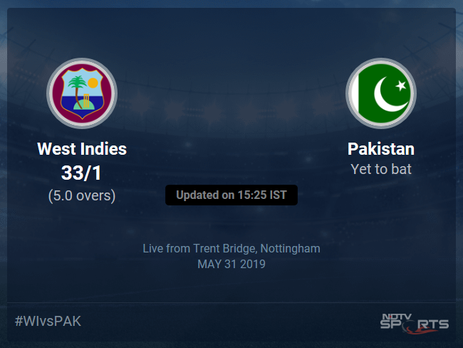 West Indies vs Pakistan Live Score, Over 1 to 5 Latest Cricket Score, Updates