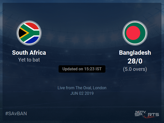 South Africa vs Bangladesh Live Score, Over 1 to 5 Latest Cricket Score, Updates