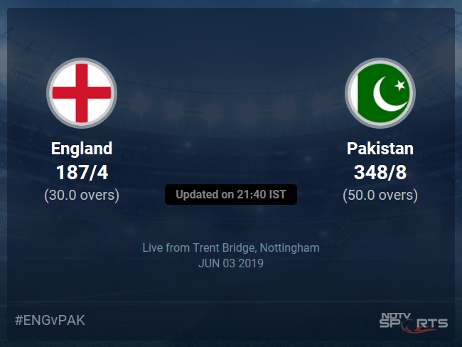 England vs Pakistan Live Score, Over 26 to 30 Latest Cricket Score, Updates