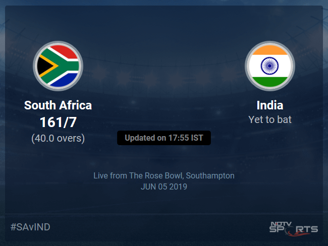 South Africa vs India Live Score, Over 36 to 40 Latest Cricket Score, Updates