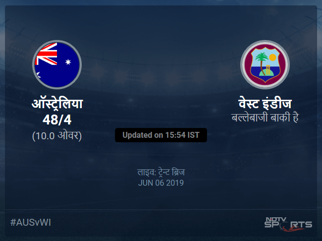 Australia vs West Indies live score over Match 10 ODI 6 10 updates