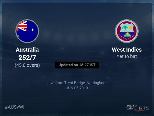 Australia vs West Indies Live Score, Over 41 to 45 Latest Cricket Score, Updates