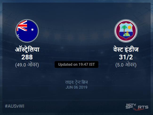 Australia vs West Indies live score over Match 10 ODI 1 5 updates