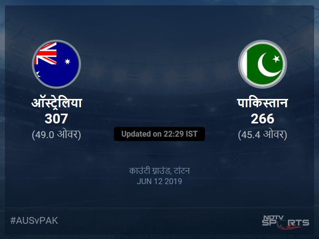 ऑस्ट्रेलिया बनाम पाकिस्तान लाइव स्कोर, ओवर 46 से 50 लेटेस्ट क्रिकेट स्कोर अपडेट