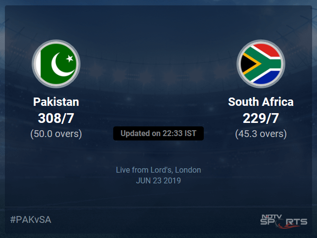 Pakistan vs South Africa Live Score, Over 41 to 45 Latest Cricket Score, Updates