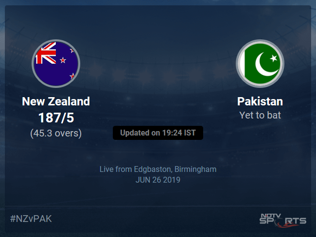New Zealand vs Pakistan Live Score, Over 41 to 45 Latest Cricket Score, Updates