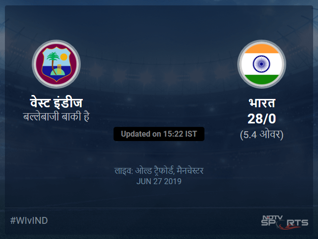 West Indies vs India live score over Match 34 ODI 1 5 updates