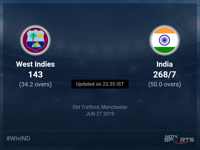 West Indies vs India live score over Match 34 ODI 31 35 updates