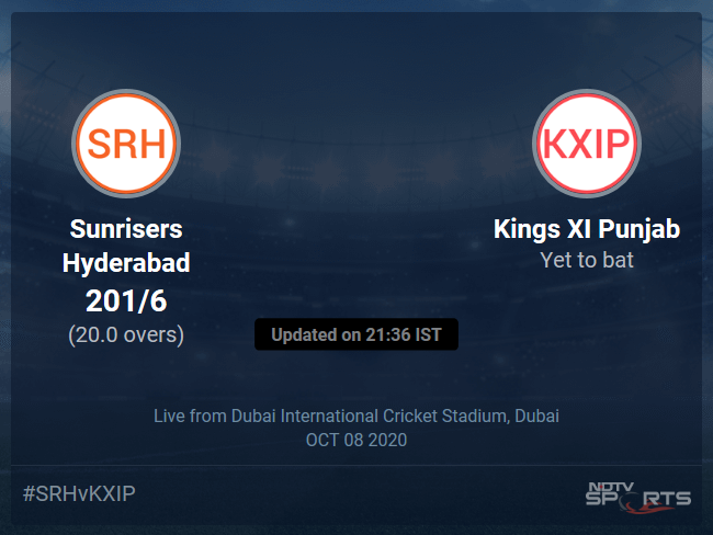 Kings XI Punjab vs Sunrisers Hyderabad Live Score, Over 16 to 20 Latest Cricket Score, Updates
