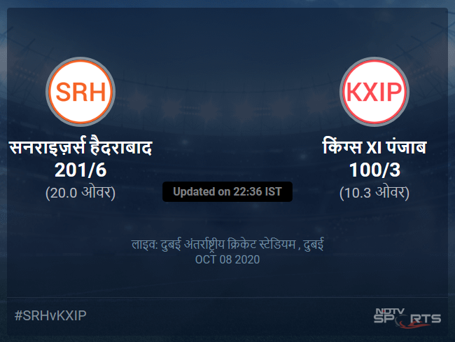 Sunrisers Hyderabad vs Kings XI Punjab live score over Match 22 T20 6 10 updates