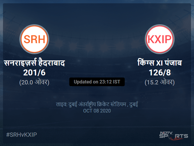 Sunrisers Hyderabad vs Kings XI Punjab live score over Match 22 T20 11 15 updates