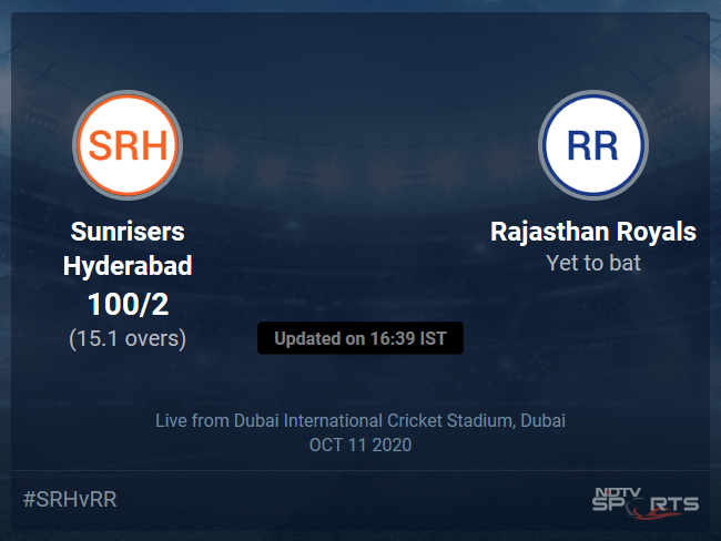 Rajasthan Royals vs Sunrisers Hyderabad Live Score, Over 11 to 15 Latest Cricket Score, Updates