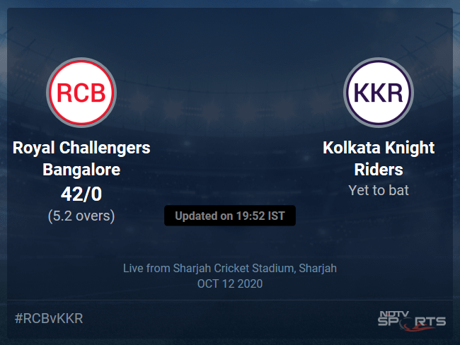 Royal Challengers Bangalore vs Kolkata Knight Riders Live Score, Over 1 to 5 Latest Cricket Score, Updates
