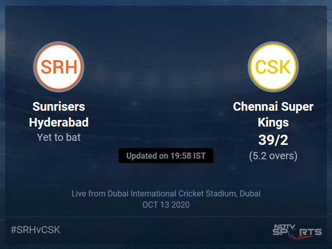 Chennai Super Kings vs Sunrisers Hyderabad Live Score, Over 1 to 5 Latest Cricket Score, Updates