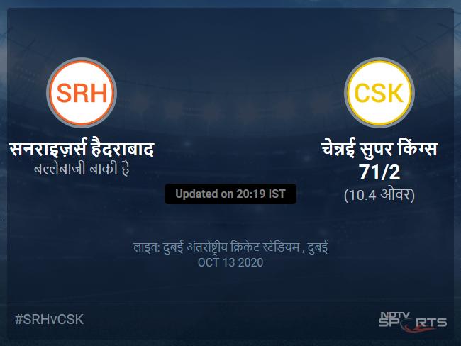 Sunrisers Hyderabad vs Chennai Super Kings live score over Match 29 T20 6 10 updates
