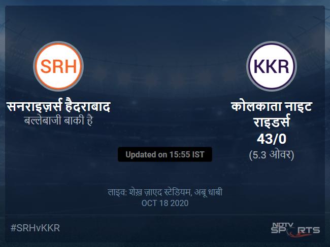 Sunrisers Hyderabad vs Kolkata Knight Riders live score over Match 35 T20 1 5 updates