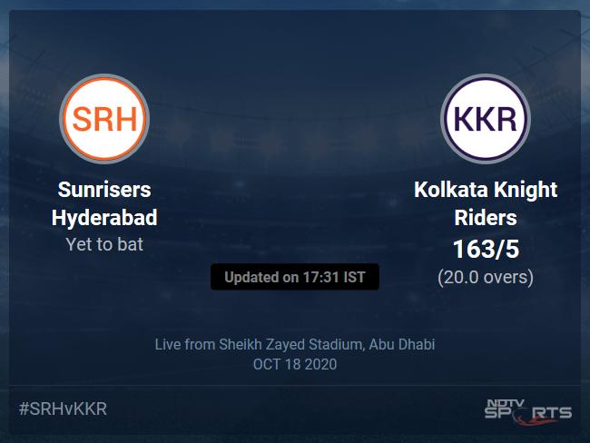 Sunrisers Hyderabad vs Kolkata Knight Riders: IPL 2020 Live Cricket Score, Live Score Of Todays Match on NDTV Sports