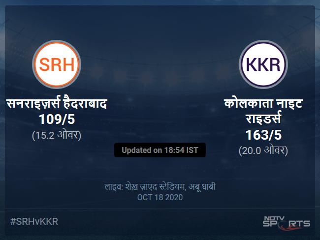 सनराइज़र्स हैदराबाद बनाम कोलकाता नाइट राइडर्स लाइव स्कोर, ओवर 11 से 15 लेटेस्ट क्रिकेट स्कोर अपडेट