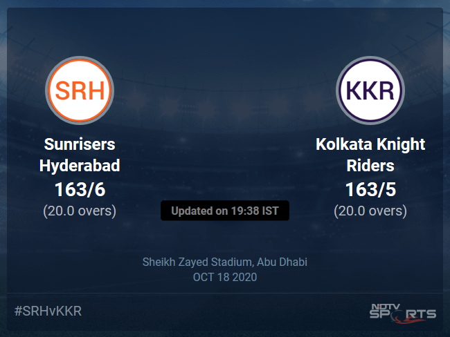 Sunrisers Hyderabad vs Kolkata Knight Riders Live Score Ball by Ball, IPL 2020 Live Cricket Score Of Todays Match on NDTV Sports