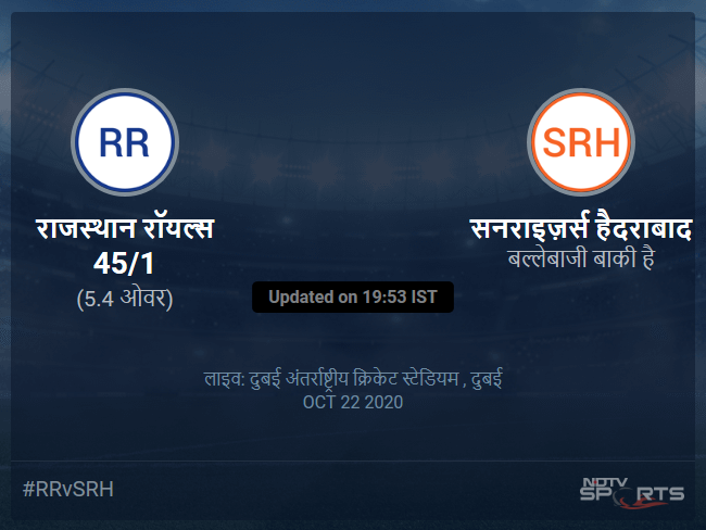 Rajasthan Royals vs Sunrisers Hyderabad live score over Match 40 T20 1 5 updates