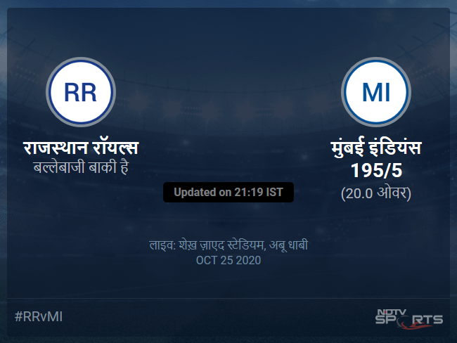 Rajasthan Royals vs Mumbai Indians live score over Match 45 T20 16 20 updates