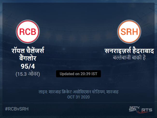 Royal Challengers Bangalore vs Sunrisers Hyderabad live score over Match 52 T20 11 15 updates