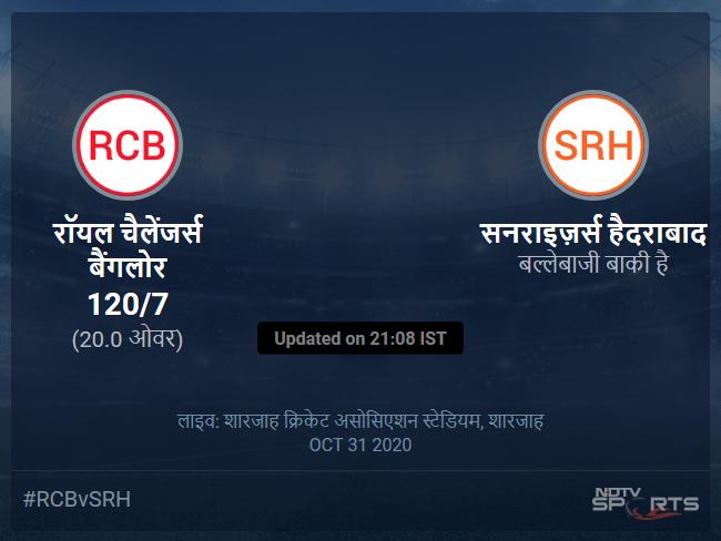 रॉयल चैलेंजर्स बैंगलोर बनाम सनराइज़र्स हैदराबाद लाइव स्कोर, ओवर 16 से 20 लेटेस्ट क्रिकेट स्कोर अपडेट