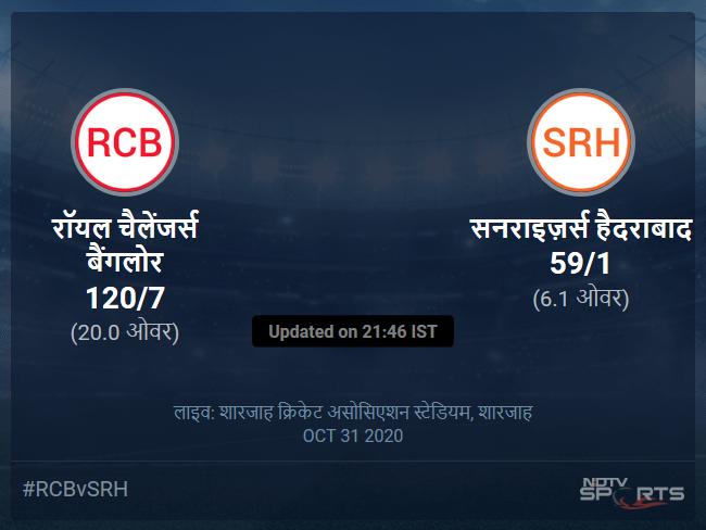 Royal Challengers Bangalore vs Sunrisers Hyderabad live score over Match 52 T20 1 5 updates