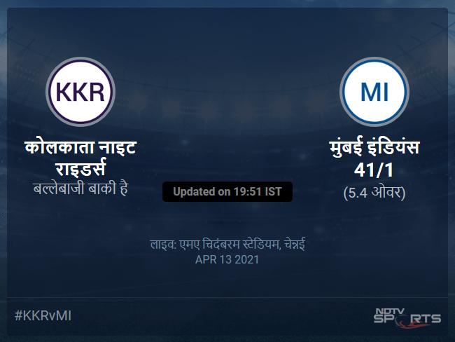 मुंबई इंडियंस बनाम कोलकाता नाइट राइडर्स लाइव स्कोर, ओवर 1 से 5 लेटेस्ट क्रिकेट स्कोर अपडेट
