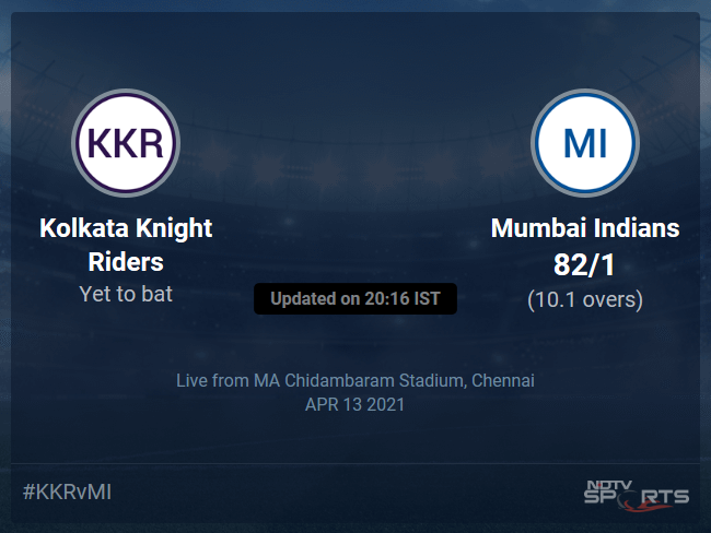 Kolkata Knight Riders vs Mumbai Indians: IPL 2021 Live Cricket Score, Live Score Of Todays Match on NDTV Sports