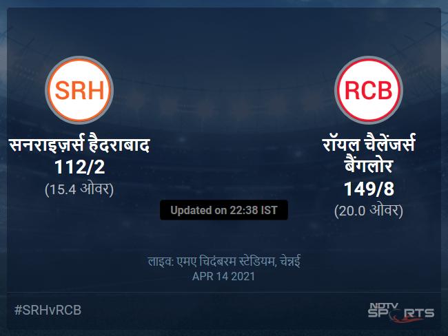 सनराइज़र्स हैदराबाद बनाम रॉयल चैलेंजर्स बैंगलोर लाइव स्कोर, ओवर 11 से 15 लेटेस्ट क्रिकेट स्कोर अपडेट