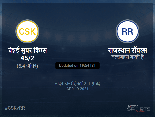 Chennai Super Kings vs Rajasthan Royals live score over Match 12 T20 1 5 updates
